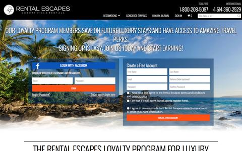 Screenshot of Signup Page Login Page rentalescapes.com - Luxury Travel Loyalty Program | Rental Escapes - captured Dec. 16, 2016
