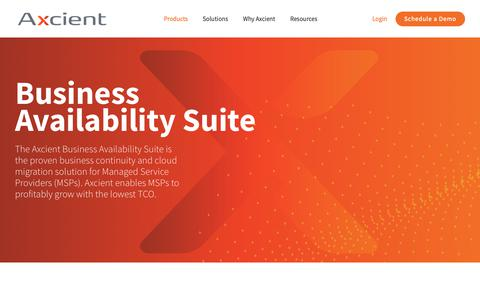 Screenshot of Products Page axcient.com - Products - Axcient - captured Nov. 6, 2018
