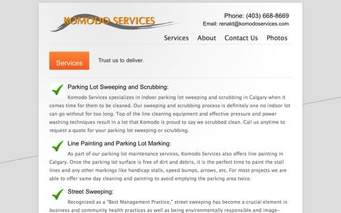 Screenshot of Services Page parkinglotsweepingcalgary.com - Parking Lot Sweeping Calgary - Komodo Services - 403-660-5251 - Services - captured Oct. 6, 2014