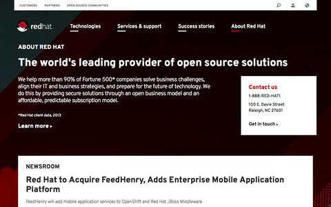Screenshot of About Page redhat.com - About | Red Hat - captured Oct. 10, 2014