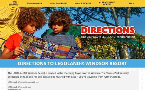 Screenshot of Maps & Directions Page legolandholidays.co.uk - LEGOLAND Directions | How To Get To LEGOLAND Windsor - captured Sept. 30, 2018