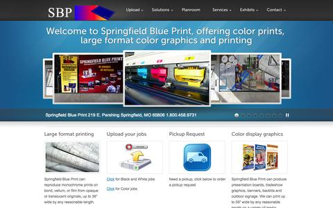 Screenshot of Home Page spfdblue.com - springfield blue print and photocopy wide large format engineering printers KIP HP springfield Missouri - captured Oct. 9, 2014