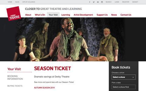 Screenshot of Signup Page derbytheatre.co.uk - Season Ticket | Derby Theatre - captured Sept. 30, 2014