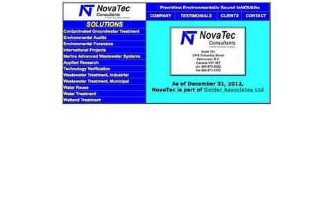 Screenshot of Home Page novatec.ca - NovaTec Consultants - captured Oct. 6, 2014