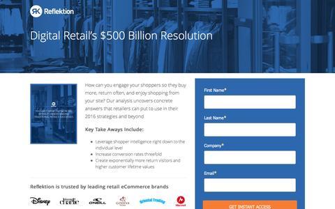 Screenshot of Landing Page reflektion.com - Digital Retail's $500 Billion Resolution - captured Oct. 20, 2016