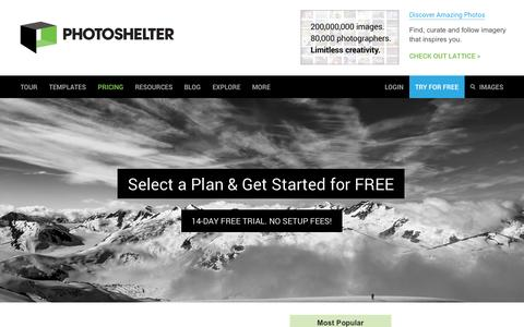 Screenshot of Signup Page photoshelter.com - Sign up for PhotoShelter - Host your photography website & sell photos | PhotoShelter - captured Oct. 28, 2014