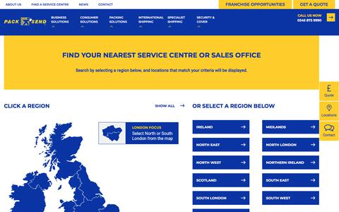 Screenshot of Locations Page packsend.co.uk - Find a Service Centre - Pack and Send - captured Sept. 26, 2018