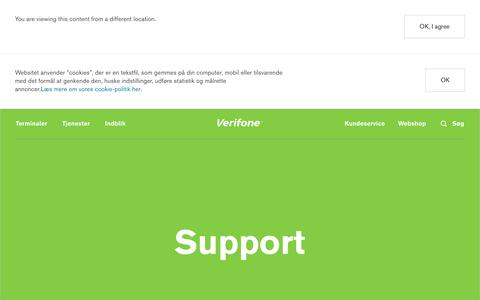 Screenshot of Support Page verifone.com - Support   Verifone Denmark - captured Feb. 16, 2018