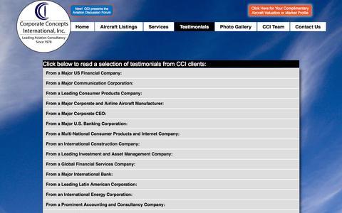 Screenshot of Testimonials Page flycci.com - Testimonials | Corporate Concepts International, Inc. - captured Nov. 2, 2014