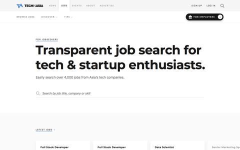 Screenshot of Jobs Page techinasia.com - Find a startup job you'll love | Tech in Asia Jobs - captured Feb. 2, 2018