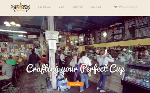 Screenshot of Home Page philzcoffee.com - Philz Coffee - captured Jan. 6, 2016