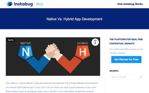 Screenshot of Developers Page instabug.com - Native Vs. Hybrid App Development | Instabug Blog - captured Dec. 3, 2019