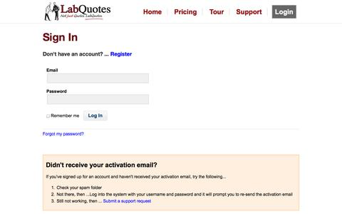 Screenshot of Login Page labquotes.com - Login - LabQuotes - captured Sept. 27, 2014