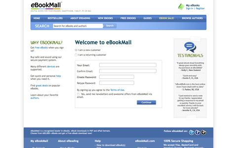Screenshot of Signup Page ebookmall.com - Create Your Account - eBookMall - captured June 25, 2017