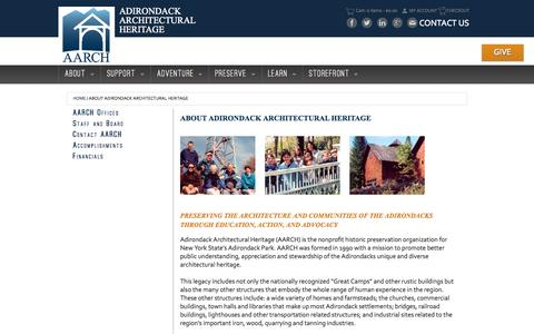 Screenshot of About Page aarch.org - About Adirondack Architectural Heritage - - Adirondack Architectural Heritage - captured Sept. 25, 2015