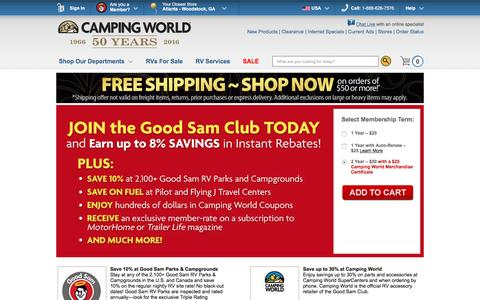 Screenshot of Signup Page campingworld.com - Join the Good Sam Club of Camping World Today and Start Saving 30% everyday! - Camping World - captured Jan. 13, 2016