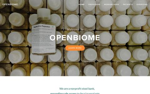 Screenshot of Home Page openbiome.org - OpenBiome - captured Jan. 11, 2016