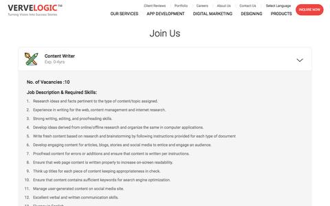 Screenshot of Jobs Page vervelogic.com - Career   VerveLogic - captured June 29, 2018