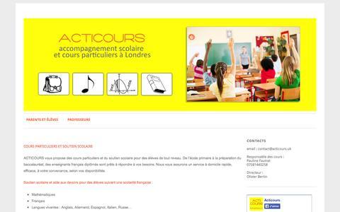 Screenshot of Home Page acticours.uk - Acticours   Cours particuliers et aide aux devoirs - captured Jan. 23, 2015