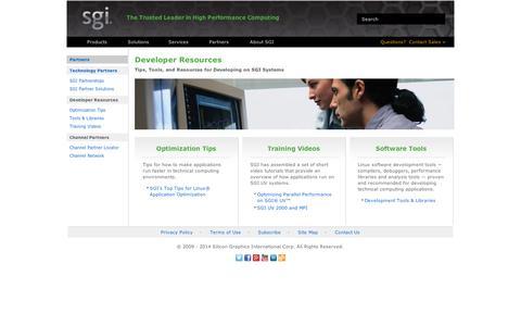 Screenshot of Developers Page sgi.com - SGI - Partners: Developers - captured Sept. 10, 2014
