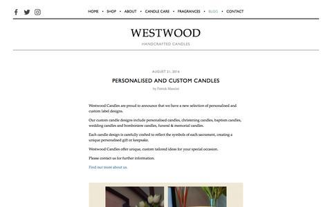 Screenshot of Blog westwoodcandles.com - Blog — Westwood Candles | Handcrafted soy candles - captured Nov. 9, 2017