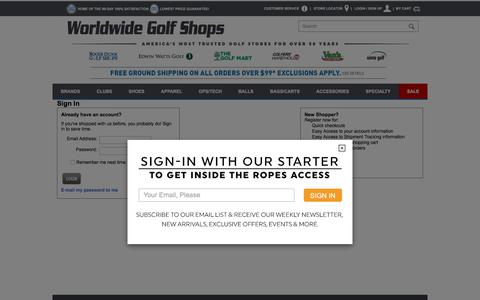 Screenshot of Login Page worldwidegolfshops.com - Sign In - Golf Clubs, Drivers, Irons, Hybrids, Wedges, Golf Shoes  and Golf Equipment at Edwin Watts Golf - captured June 22, 2017