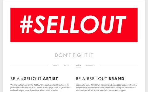 Screenshot of Signup Page hashtagsellout.com - join — #SELLOUT - captured March 8, 2016