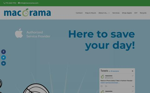Screenshot of Home Page macorama.com - Mac-O-Rama | Apple Authorized, Local, Independent Mac and iPhone Service - captured July 26, 2018