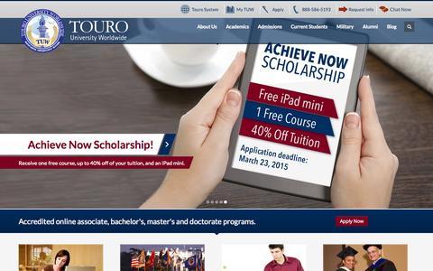 Screenshot of Home Page tuw.edu - Touro University Worldwide - Accedited Online Degrees - captured Jan. 26, 2015