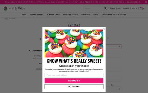 Screenshot of Contact Page bakedbymelissa.com - Contact Us  - Baked by Melissa - captured July 22, 2019