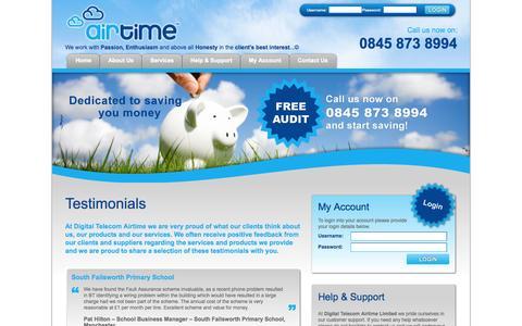 Screenshot of Testimonials Page dtairtime.co.uk - Testimonials | Digital Telecom Airtime - captured Oct. 5, 2014