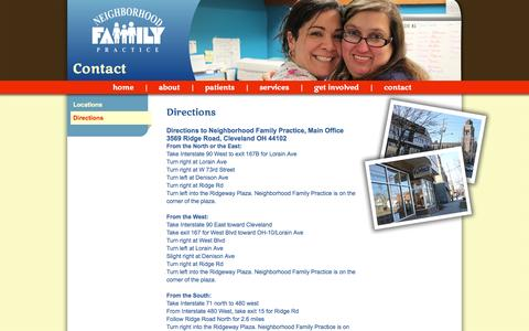 Screenshot of Maps & Directions Page nfpmedcenter.org - Directions - Neighborhood Family Practice - captured Oct. 26, 2014