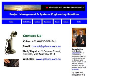 Screenshot of Contact Page galanos.com.au - Untitled Document - captured Oct. 3, 2014
