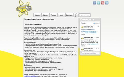 Screenshot of Jobs Page lemonadelabs.ca - Lemonade Labs :: Careers - captured Oct. 2, 2014
