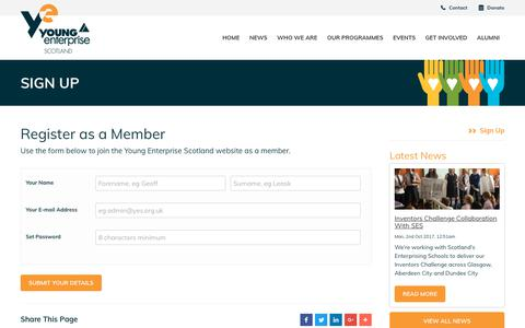 Screenshot of Signup Page yes.org.uk - Young Enterprise Scotland - Sign Up - captured Oct. 27, 2017