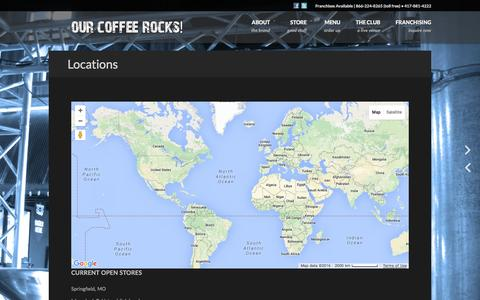 Screenshot of Locations Page classicrockcoffee.com - Classic Rock Coffee Company | US and International Coffee Franchises - captured Jan. 28, 2016