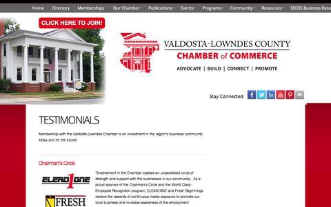 Screenshot of Testimonials Page valdostachamber.com - Valdosta - Lowndes County Chamber of Commerce - Testimonials - captured Feb. 23, 2016