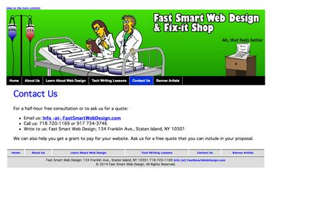 Screenshot of Contact Page fastsmartwebdesign.com - Welcome to Fast Smart Web Design - Contact Us - captured Sept. 30, 2014