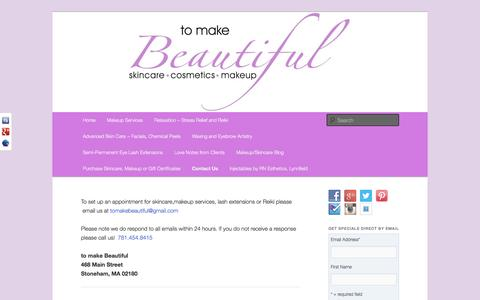 Screenshot of Contact Page tomakebeautiful.com - Contact information | Advanced Anti-Aging Skincare, Wedding Makeup, Relaxation and Reiki - captured Oct. 2, 2014