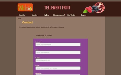 Screenshot of Contact Page vitabio.fr - Contact - Vitabio - captured Nov. 1, 2014