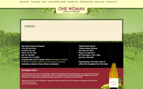 Screenshot of Jobs Page onewomanwines.com - Careers | One Woman Wines and Vineyards - captured Dec. 6, 2016
