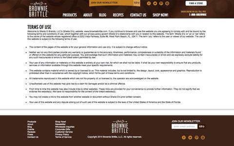 Screenshot of Terms Page browniebrittle.com - Terms of Service   Brownie Cookies - captured Sept. 18, 2014