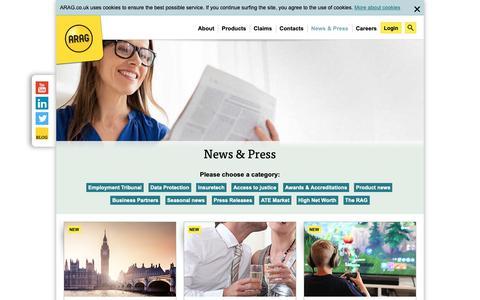 Screenshot of Blog arag.co.uk - News, Articles, PR - ARAG | Legal Expenses Insurance | arag.co.uk - captured Dec. 17, 2018