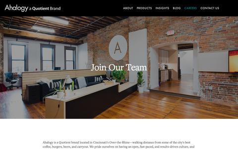 Screenshot of Jobs Page ahalogy.com - Join Our Team! - captured April 10, 2019