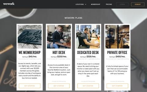 Screenshot of Pricing Page wework.com - Pricing   WeWork - captured March 25, 2016