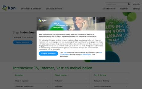 Screenshot of Home Page kpn.com - Internet, televisie, vast bellen en mobiel met 4G netwerk | KPN - captured Feb. 7, 2017