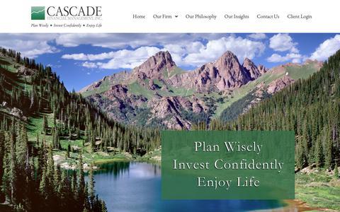 Screenshot of Home Page cascade-inc.com - Cascade Financial Management - captured Sept. 27, 2018