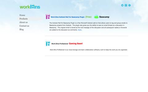 Screenshot of Products Page work-bins.com - Products - captured Oct. 26, 2014