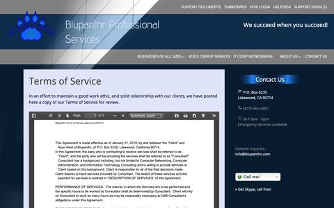 Screenshot of Terms Page blupanthr.com - Terms of Service | Blupanthr Professional Services - captured Oct. 6, 2018