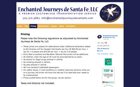 Screenshot of Pricing Page enchantedjourneysdesantafe.com - Pricing | Enchanted Journeys de Santa Fe - captured Aug. 7, 2017